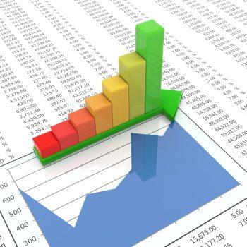 3d reflective progress bars on green arrow on the background of spreadsheet